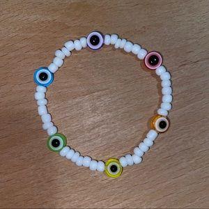 Hand made rainbow evil eye beaded bracelet